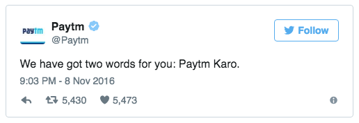 PayTM demonetization tweet