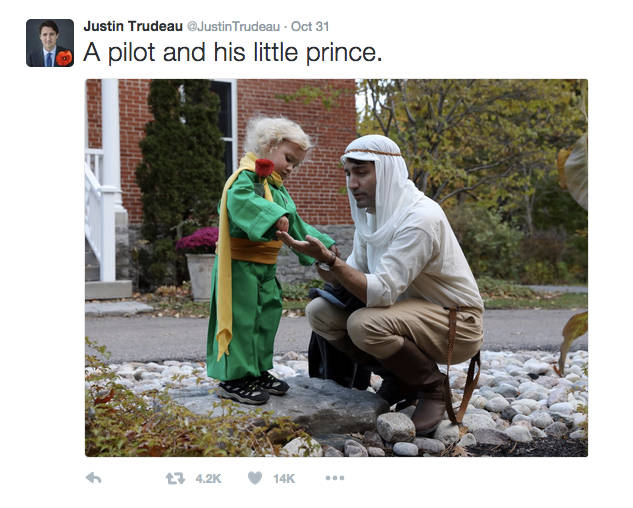 Justin Trudeau's tweet on Halloween
