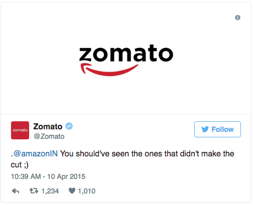 Zomato's funny reply to Amazon on Twitter