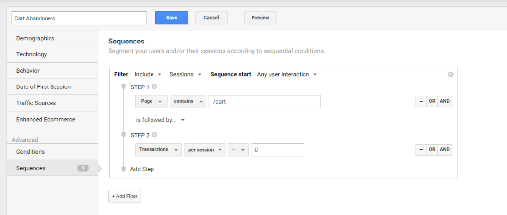 Google Analytics Sequence Segment