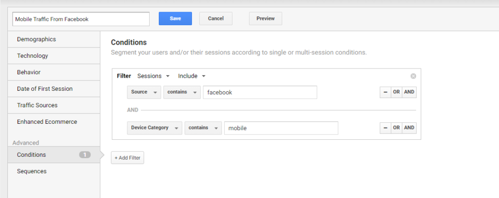 Google Analytics Segment Example