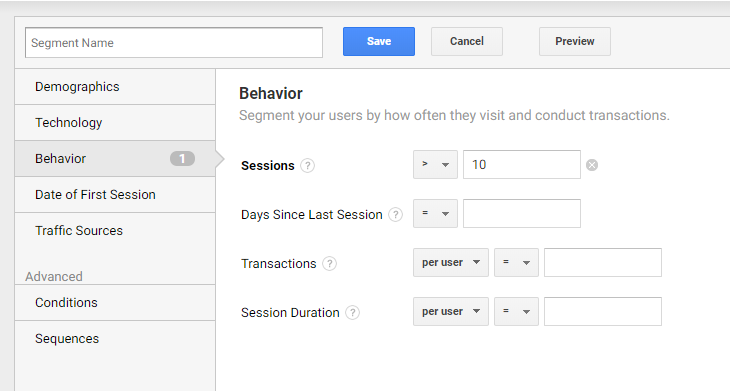 Google Analytics Filter Segment